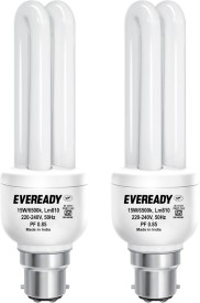 15 W CFL Combo with Free 4 AA Batteries Bulb (White, Pack of 2)
