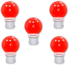 REMEN 0.5W B22 LED Bulb (Red, Pack of 5)