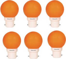 Philips 0.5 W LED Deco B22 IND Bulb Orange (pack of 6)