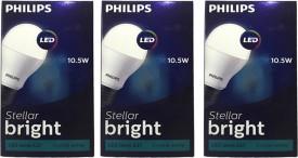Philips 10.5 W LED Steller Bright cool daylight Bulb E27 white (pack of 3)