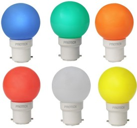 Pyrotech 0.5W LED Bulb (Multicolor, Pack of 6)