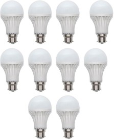 Gold 7W Plastic Body Warm White LED Bulb (Pack Of 10)