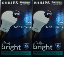 Philips Stellar Bright 14W LED Bulb (Cool Day Light, Pack of 2)