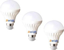 10W B22 LED Bulb (White, Set Of 3)