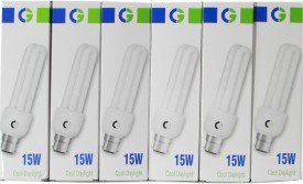 Crompton Greaves 15 W 2U CFL Bulb (Cool Daylight, Pack of 6)