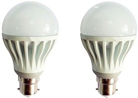 Gold 5W Plastic Body Warm White LED Bulb (Pack Of 2)