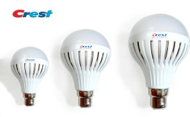 Crest 3W, 5W, 7W B22 LED Light Bulb (Set Of 3)