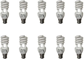 15 W Spiral CFL Bulb (White, Pack of 10)