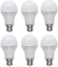 Gold 12W Plastic Body Warm White LED Bulb (Pack Of 6)