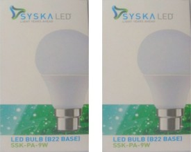 Syska 9W White LED Pa Bulbs (Pack Of 2)