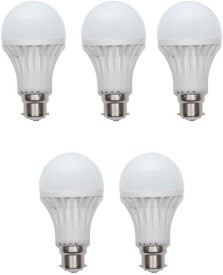 12W B22 White LED Bulb (Plastic, Pack of 5)