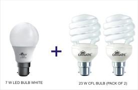 Ornate Combo Of 7W LED & 2x23W Spiral CFL Bulb (White)