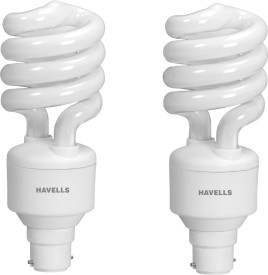 Havells Spiral Shape T3 B-22 20W CFL Bulb (Cool Day Light, Pack of 2)