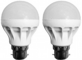 5W B22 LED Bulb (White, Set of 2)