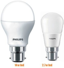 Philips 14 W, 2.7 W LED Bulb B22 White Combo (pack of 2)