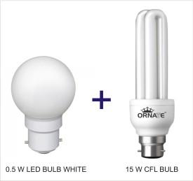 Ornate Combo Of 0.5W LED & 15W 2U CFL Bulbs (White)