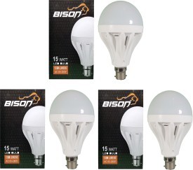 Bison 15W B22 LED Bulb (White, Set Of 3)