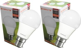Compact 10 W B22 LED Bulb (Cool White, Pack of 2)