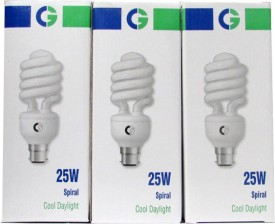 Crompton Greaves Spiral 25 Watt CFL Bulb (Cool Day Light,Pack of 3)