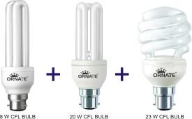 Ornate Combo Of 8W-2U, 20W-3U & 23W-Spiral CFL Bulbs (White)