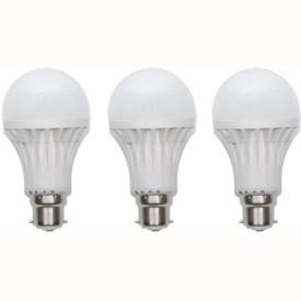 9W Plastic 220 Lumens White LED Bulb (Pack Of 3)