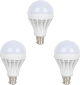 12W B22 LED Bulb (White, Set of 3)