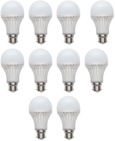 Gold 5W Plastic Body Warm White LED Bulb (Pack Of 10)
