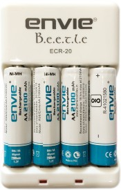 Envie Beetle AA/AAA 2100mAh Battery Charger(With 4AA Ni-MH Batteries )