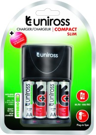Uniross Slim Battery Charger (With Rechargeable PreCharged 2100 AA 4 Battery )