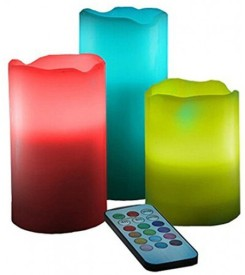 Dizionario Remote Color Changing LED Pillar Candle