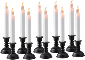 Dizionario Flameless LED flickering Light with Stand Set of 10pc Candle(White, Pack of 10)