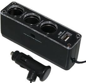 Amzer 84861 12V/24V Triple Socket USB Car..