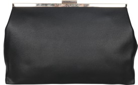 Lino Perros Casual Black Leatherette Clutch