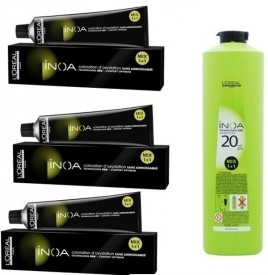 Loreal Inoa No 5,52 (Light Mahagony indescent Brown ) With 20 Volume 6% Developer