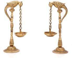 Aakrati Bird Deepak Oil Lamp Stand Pair Brass Hindu Religious Puja Art Fengshui Gifts Brass Table Diya Set(Height: 6.5 inch, Pack of 2)