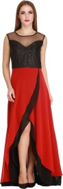 Cottinfab Women's A-line Red Dress