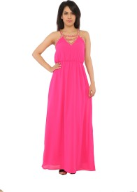 Isa-dora Women's Fit and Flare Pink Dress