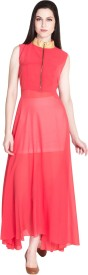 D&S Women's Fit and Flare Red Dress