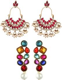 Zaveri Pearls Set Of Two Zinc Dangle Earring