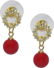Jewelz Crystal Mounted Ear Hanging With Red Bead Metal Drop Earring