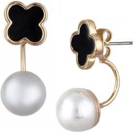 Aaishwarya Pearly And Black Clover Ear Jackets Alloy Stud Earring