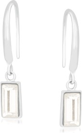 VK Jewels White and Gold Rectangle Alloy Drop Earring