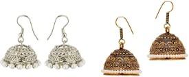 CTW Jaipuri Textured Oxidised Alloy Jhumki Earring