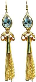 Shining Jewel Tassle Crystal Brass Dangle Earring