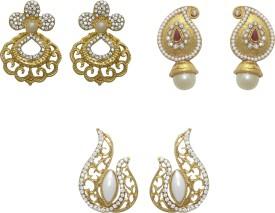 Aarnaa La trendz Set of 3 Designer Beads Alloy Dangle Earring