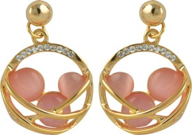 Glitters Online Pink Moon Stone Crystal Imported Fashion Alloy Drop Earring