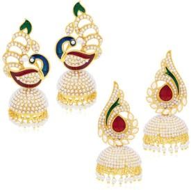 Styylo Fashion Diva Style Pearl Copper Earring Set