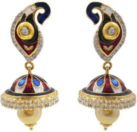 MK Jewellers Designer Meenakari & American Diamond Brass Jhumki Earring