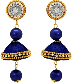 Atasi International Valvet Crystal Fabric Jhumki Earring