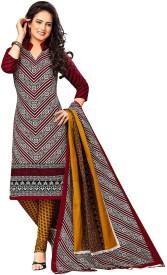 Jevi Prints Cotton Geometric Print Salwar Suit Dupatta Material(Un-stitched)